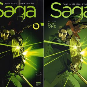 LEFT: SAGA #41 with printer error in colors. RIGHT: Forthcoming reprint of SAGA #41.